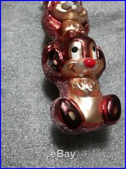 Christopher Radko Chip & Dale Glass Christmas Ornament Radko Disney Collectible