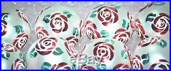 Christopher Radko Christmas Ball Ornament WHITE WITH RED CHRISTMAS ROSE SET OF 8