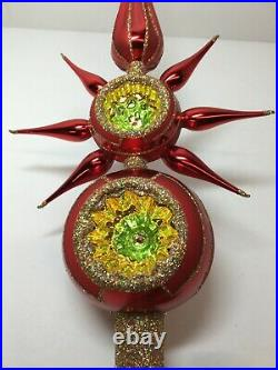 Christopher Radko Christmas Double Crimson Reflector Star Finial Tree Topper