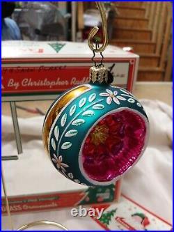 Christopher Radko Christmas Fantasia ornaments balls set of 6 in Box Glass Shiny