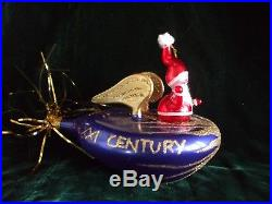 Christopher Radko Christmas Ornament 21st Century Santa Rocket Space Ship Italy