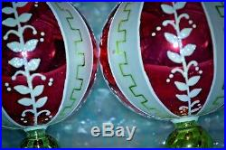 Christopher Radko Christmas Ornament FLORAL KEY Round Drop Ball SET OF 6 2001