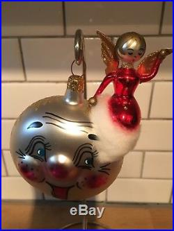 Christopher Radko Christmas Ornament FROM A DISTANCE ANGEL SMILING MOON 94-322-1