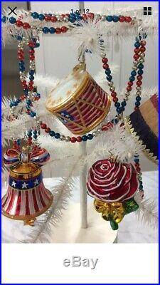 Christopher Radko Christmas Ornament Patriotic 4th of July lot 5