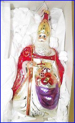 Christopher Radko Christmas Ornament Pope Santa W Fruit Bag 11 In Box