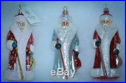 Christopher Radko Christmas Ornament RUSSIAN SANTA SET OF 5 BLUE RED PURPLE
