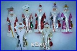 Christopher Radko Christmas Ornament RUSSIAN SANTA SET OF 7 BLUE RED SILVER PINK