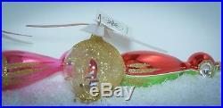 Christopher Radko Christmas Ornament SUPER RARE SANTA COPTER 94-306-1 Set of 2