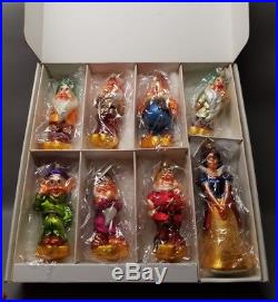 Christopher Radko Christmas Ornament Set Snow White 7 Dwarfs 60th Anniv Disney