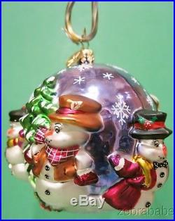 Christopher Radko Christmas Ornament Snowman Snowball Ball