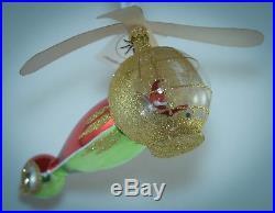 Christopher Radko Christmas Ornament VERY RARE SANTA COPTER TAGS 94-306-1 RED