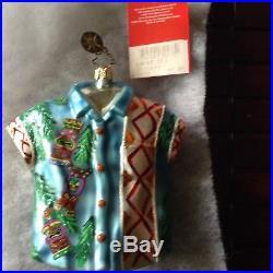 Christopher Radko Christmas Ornament set vintage Hawaiian Aloha Shirt and 3 Tiki