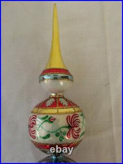 Christopher Radko Christmas Tree Topper Holly Ribbons Glass Finial Ornament