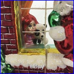 Christopher Radko Claus Encounters Ornament Santa At Window 2 Sided Tags Rare