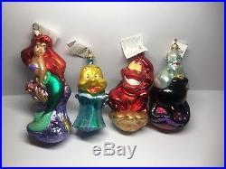 Christopher Radko Complete set of 4 Disney's The Little Mermaid Ornaments