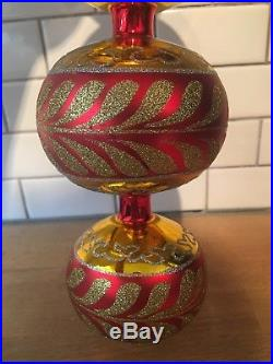 Christopher Radko Corinthian Triple Ball Ornament 97-399-1 Large 12 Inches Red