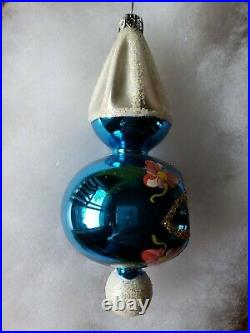 Christopher Radko Country Flowers Reflector Drop Glass Christmas Ornament