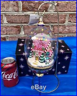 Christopher Radko Crystal Candy Cottage Snow Globe Style Ornament RARE