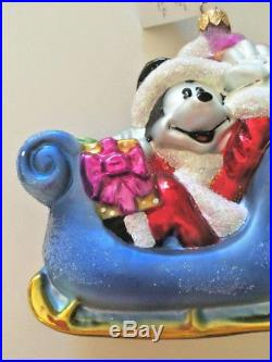 Christopher Radko DISNEY Mickey's Sleigh Ride 1997 Christmas Ornament Rare New