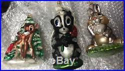 Christopher Radko Disney Bambi Set -3 Ornaments Bambi, Thumper, Flower -EUC