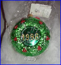 Christopher Radko Disney Ornaments Mickey Mouse Wreath Exclusive Christmas 1998