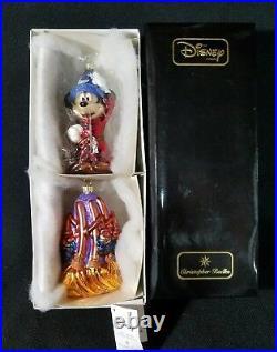 Christopher Radko Disney Sorcerer's Apprentice Mickey & Fantasia Brooms 2pc