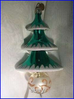 Christopher Radko Elegant EvergreenThree Tiered Tree Ornament 004060 Italian