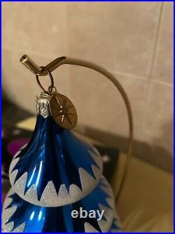 Christopher Radko Elegant Evergreen Blue Tree Reflector Drop Ornament with Box