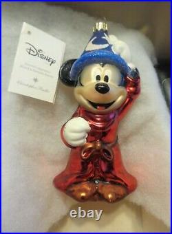 Christopher Radko FANTASIA Sorcecer Apprentice Mickey Mouse & Broom 2 Ornaments