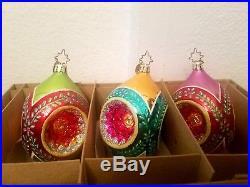 Christopher Radko Fantasia Crown Laurel 3 Indent Reflector Ornaments 1010479