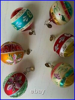 Christopher Radko Fantasia Lady Ashworth Set 6 Glass Ornaments EXC
