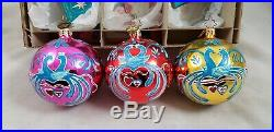 Christopher Radko Fantasia Sparkle Birds Set of 3 glass ornaments Poland Peacock