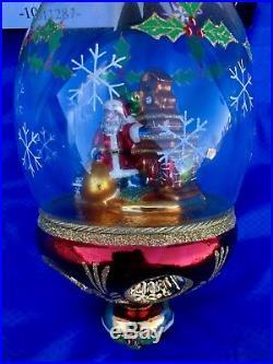 Christopher Radko Fireside Frost Santa Snow Globe Style Reflector Ornament RARE