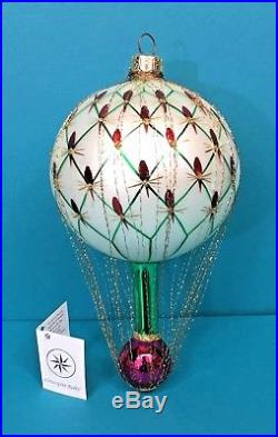 Christopher Radko French Regency Hot Air Balloon Wired Glass Christmas Ornament