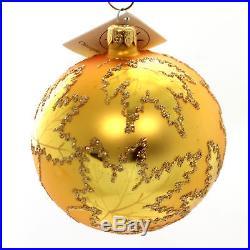 Christopher Radko GOLDEN SCARLETT Glass Ornament Leaf Ball 870102