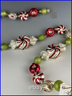 Christopher Radko Garland Peppermint Penny Candy Glass Mint In Box 36 Long