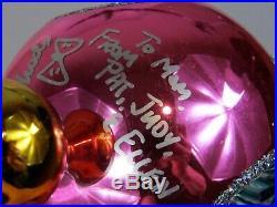 Christopher Radko Gemfires Gemfire Pink Triple Indent Christmas Ornament Signed