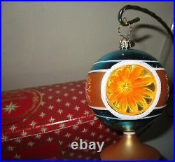 Christopher Radko Gold Blue Scepter Reflector Drop Christmas Ornament +BOX