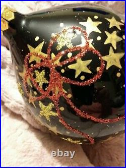 Christopher Radko Gold Star Wreath & Red Bow Blown Glass Christmas Ornament 7