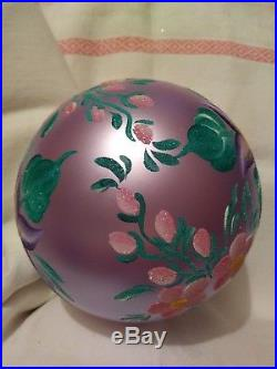 Christopher Radko Gorgeous Lavender Floral Blown Glass Ball Ornament 5