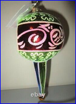 Christopher Radko Green Red Gold Scepter Reflector Drop Christmas Ornament NWT