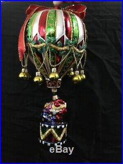 Christopher Radko HOT AIR BALLOON Blown Glass Christmas Ornament 10 1/2 By 5