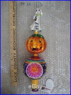 Christopher Radko Halloween Finial Tree Topper Ornament RARE Spook-O-Lantern