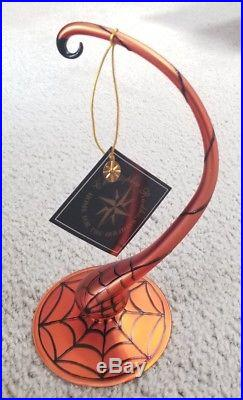 Christopher Radko Halloween Orange Spider Web Stand Glass ornament NIB
