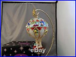 Christopher Radko Hot Air Hunks Elves Hanging From Hot Air Balloon Ornament