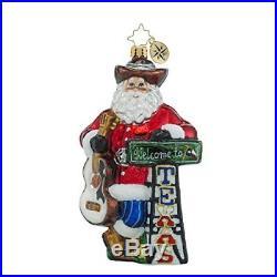 Christopher Radko Howdy Y'all Texas Themed Santa Glass Christmas Ornament 6h