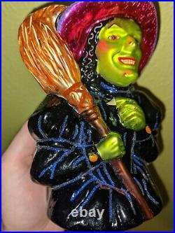 Christopher Radko I Mean Green Wicked Witch Ornament Glass Halloween Wizard Oz