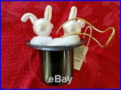 Christopher Radko Italian Blown Glass Ornament BOSSOM BUNNIES 1996 Rare