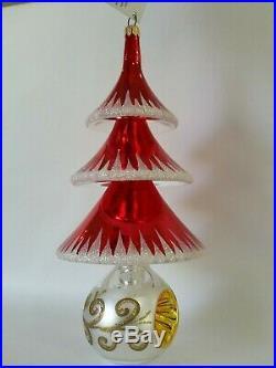 Christopher Radko Italian Blown Glass Ornament ELEGANT EVERGREENS 1999 Red