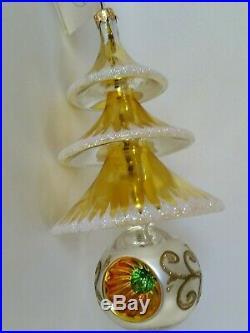 Christopher Radko Italian Blown Glass Ornament ELEGANT EVERGREENS 1999 gold